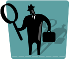 man with magnifying glass - icon