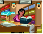 woman in library icon